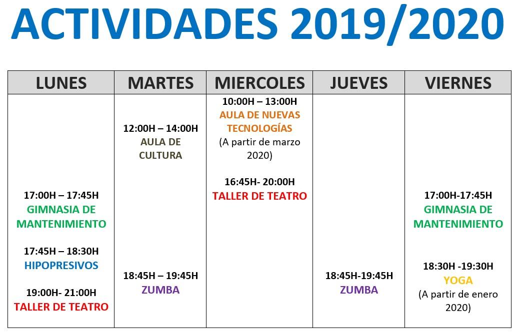 ACTIVIDADES 2019 / 2020