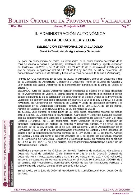 EXPOSICIÓN AL PÚBLICO DE LAS BASES DEFINITIVAS DE LA CONCENTRACIÓN DE VALORIA LA BUENA II
