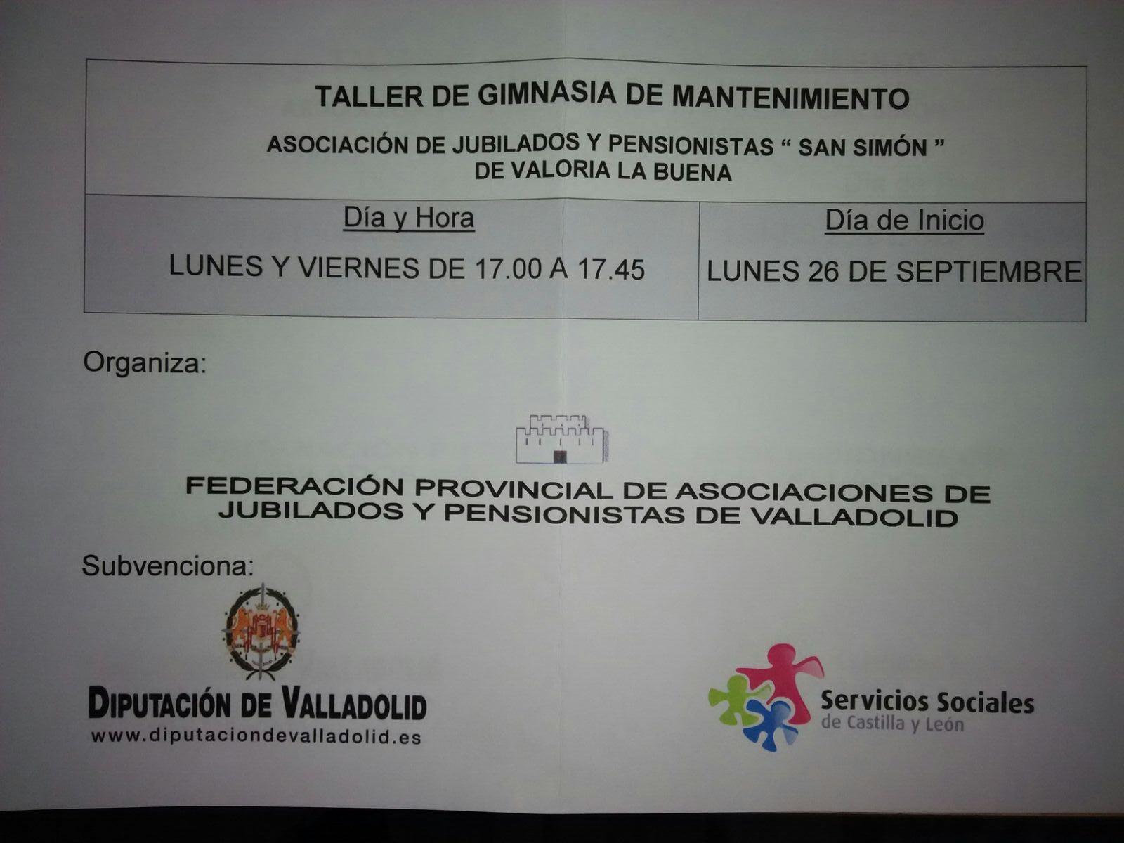 """26/09: COMIENZA EL TALLER DE """"GIMNASIA DE MANTENIMIENTO"""""""