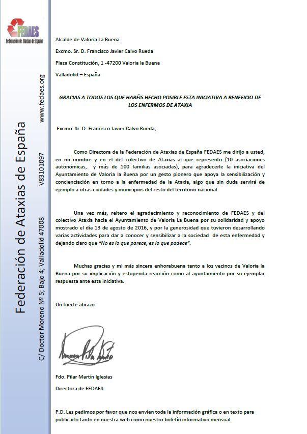 CARTA DE LA FEDERACIÓN DE ATAXIAS DE ESPAÑA (FEDAES)